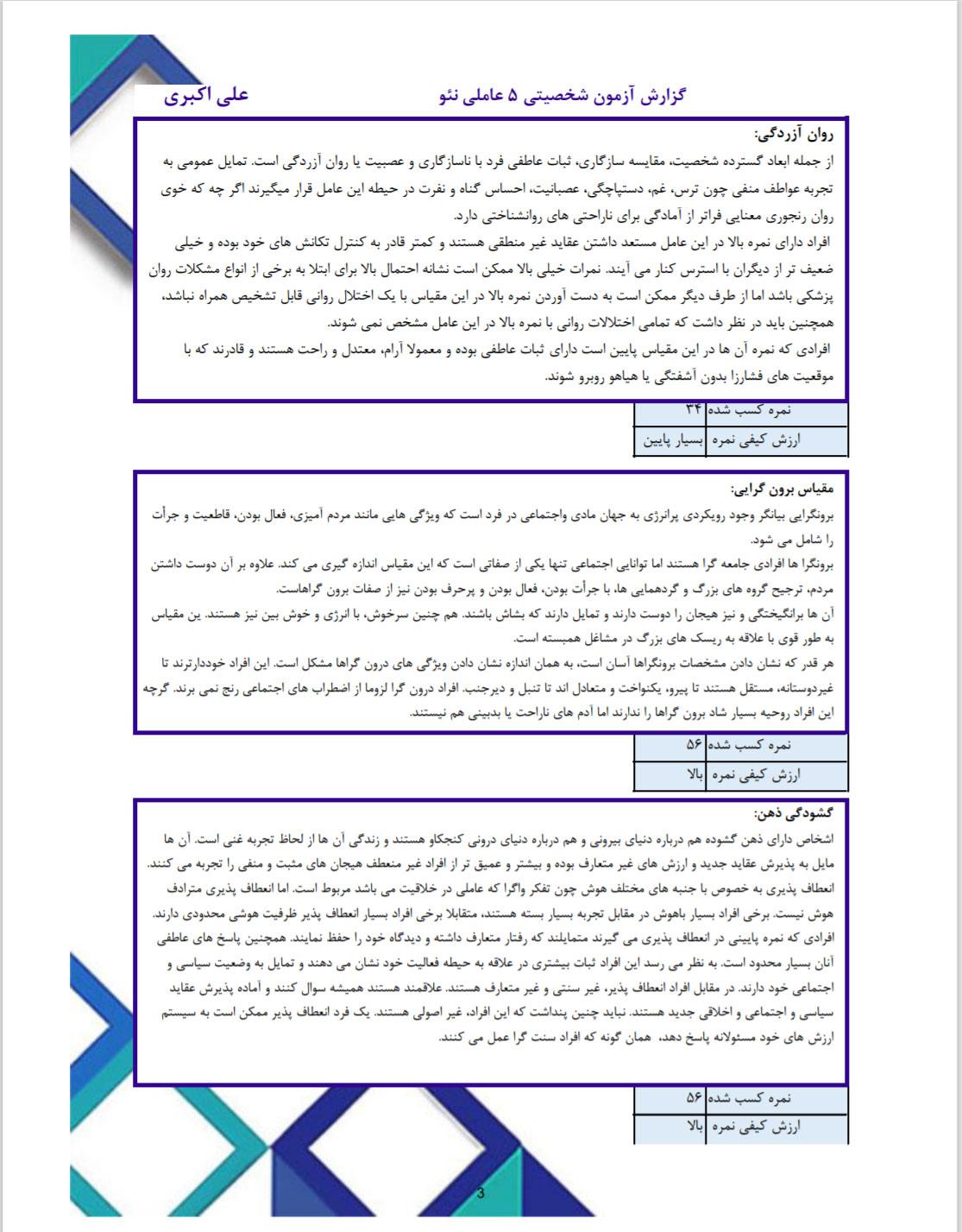مشخصات آزمون و بخشهای گزارش